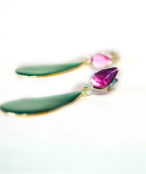 Plum Turquoise Drip Earrings