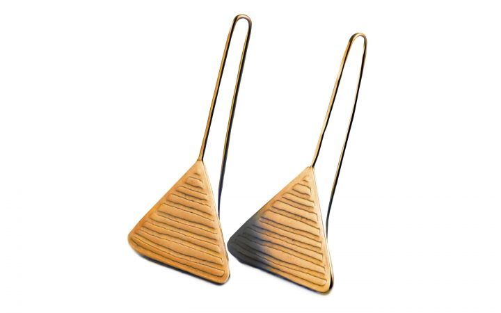 Gold Plated Triangle Earrings with Long Hooks