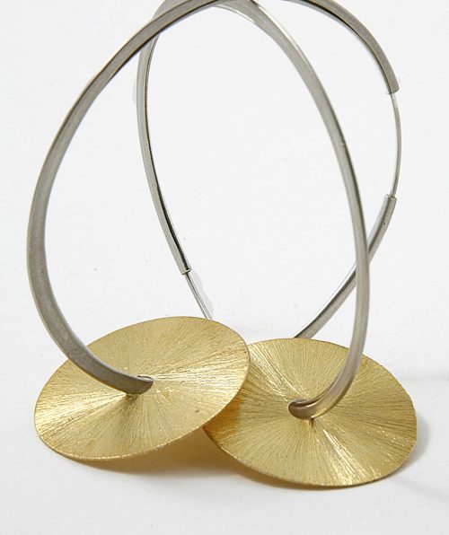 Disc on Large Hooks Earrings