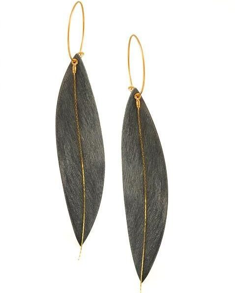 Gold Leaf Earrings with Hoops