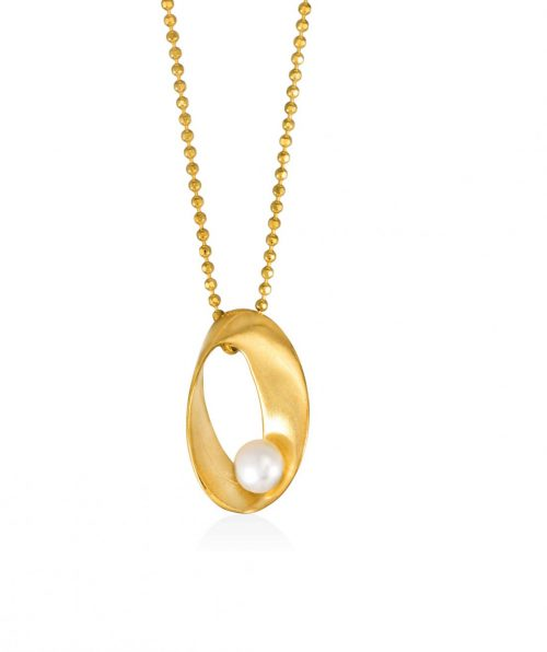 Mobius Pendant Gold Plated with Pearl