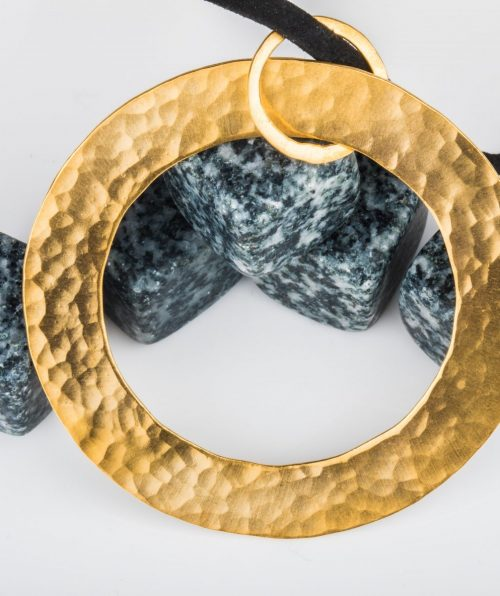 Hammered Gold Plated Circle Necklace