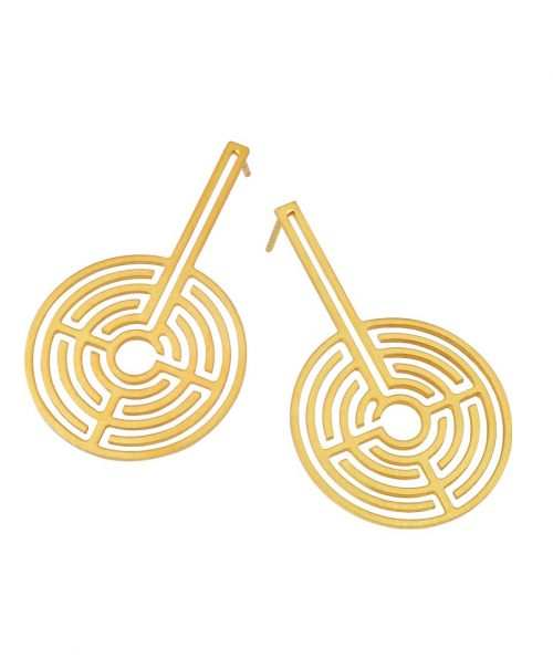 Labyrinth Gold Plated Earrings
