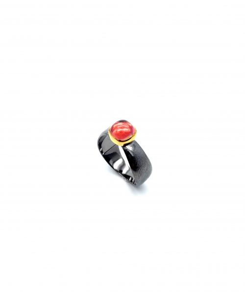 Ring sterling silver and gold 14 with tourmaline stone