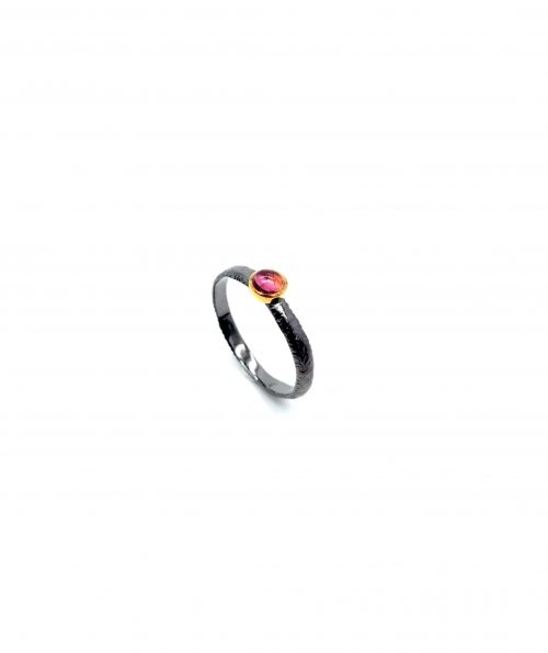 Silver and gold ring